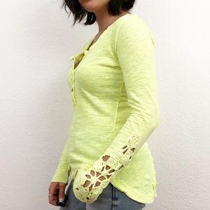 Free People lime green crochet sleeve t-shirt